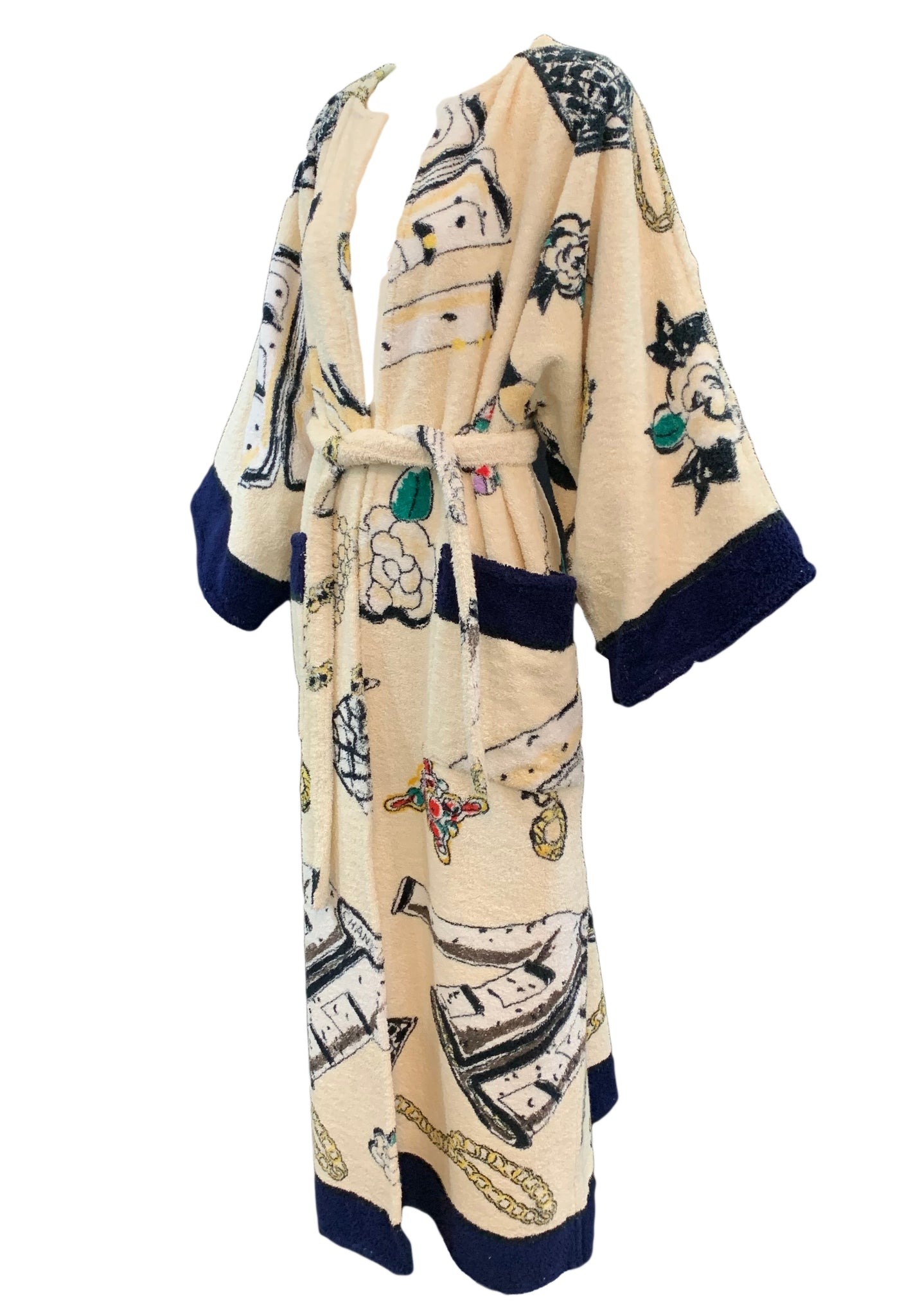 Rare Chanel Terry Cloth  Robe with Iconic Print Side 2 of 5