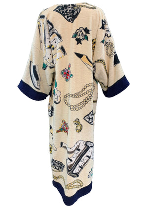 Rare Chanel Terry Cloth  Robe with Iconic Print Back 3 of 5