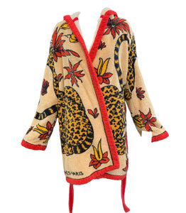 Hermes Terry Cloth Robe  with Leopard Print Front 1 of 5