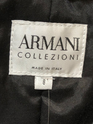 Armani Black Poly Puff Bomber with Faux Fur Collar