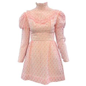 60s Neo Victorian Pink Eyelet  Mini Dress Front 1 of 3