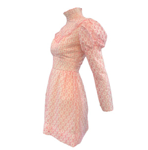 60s Neo Victorian Pink Eyelet  Mini Dress Side 2 of 3
