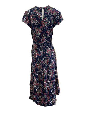 40s Blue Rayon Painterly Floral Print Dress  40s Blue Rayon Painterly Floral Print Dress  BACK 2 of 4