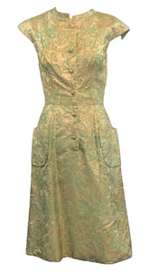 60's Metallic Green Jacquard Dress