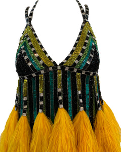 Bob Mackie Beaded Feather Mini Yellow Showgirl Dress Front 1 of 4