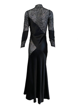 30s Siren Black Satin and Lace Gown