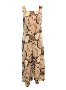 60's Brown and White Abstract Print Jumpsuit