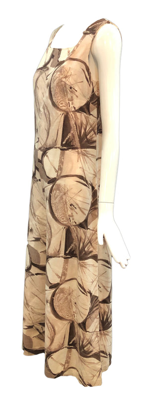 60's Brown and White Abstract Print Jumpsuit, side