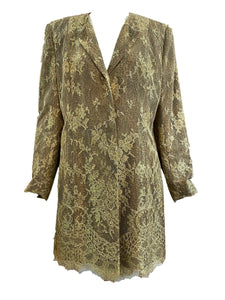 Jean-Louis Scherrer Gold Lace Evening Coat with Leopard Print Underlay FRONT 1 of 4