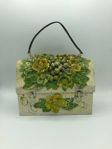 50s Decoupage Lunchbox Purse in Floral Theme Front 1 of 5
