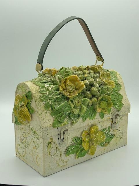 50s Decoupage Lunchbox Purse in Floral Theme Side 3 of 5