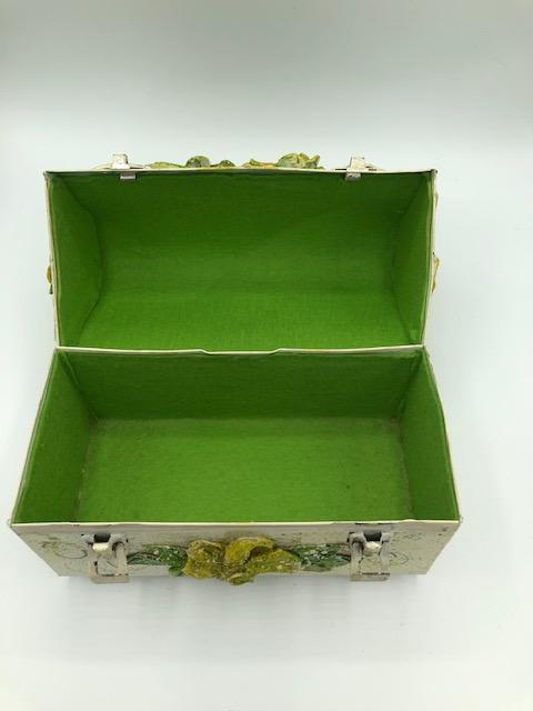 50s Decoupage Lunchbox Purse in Floral Theme Open 4 of 5
