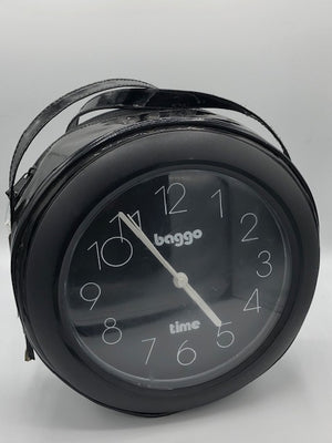 Baggo Time 80s Black Patent Clock Purse Front 1 of 4