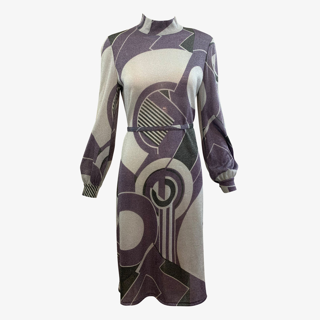 Goldworm 70s Lurex Deco Print Sheath Dress with Sash FRONT 1 of 5