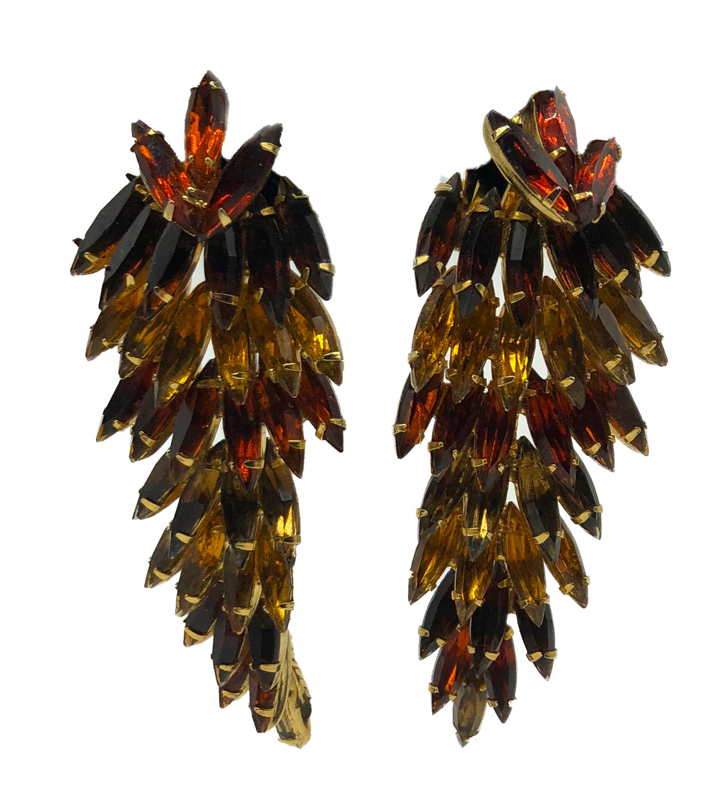 60s Amber Colored Rhinestone Drop earrings 1  of 4