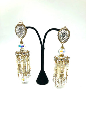 Larry Vrba Massive Rhinestone and Pearl Chandelier Earrings 1 of 4
