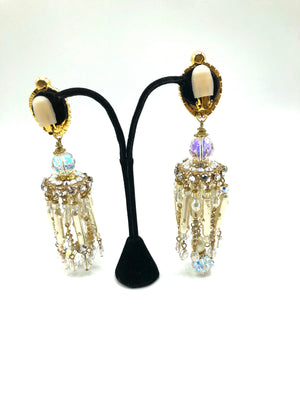 Larry Vrba Massive Rhinestone and Pearl Chandelier Earrings 2 of 4