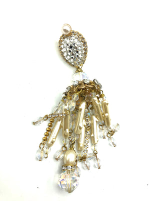 Larry Vrba Massive Rhinestone and Pearl Chandelier Earrings 3 of 4