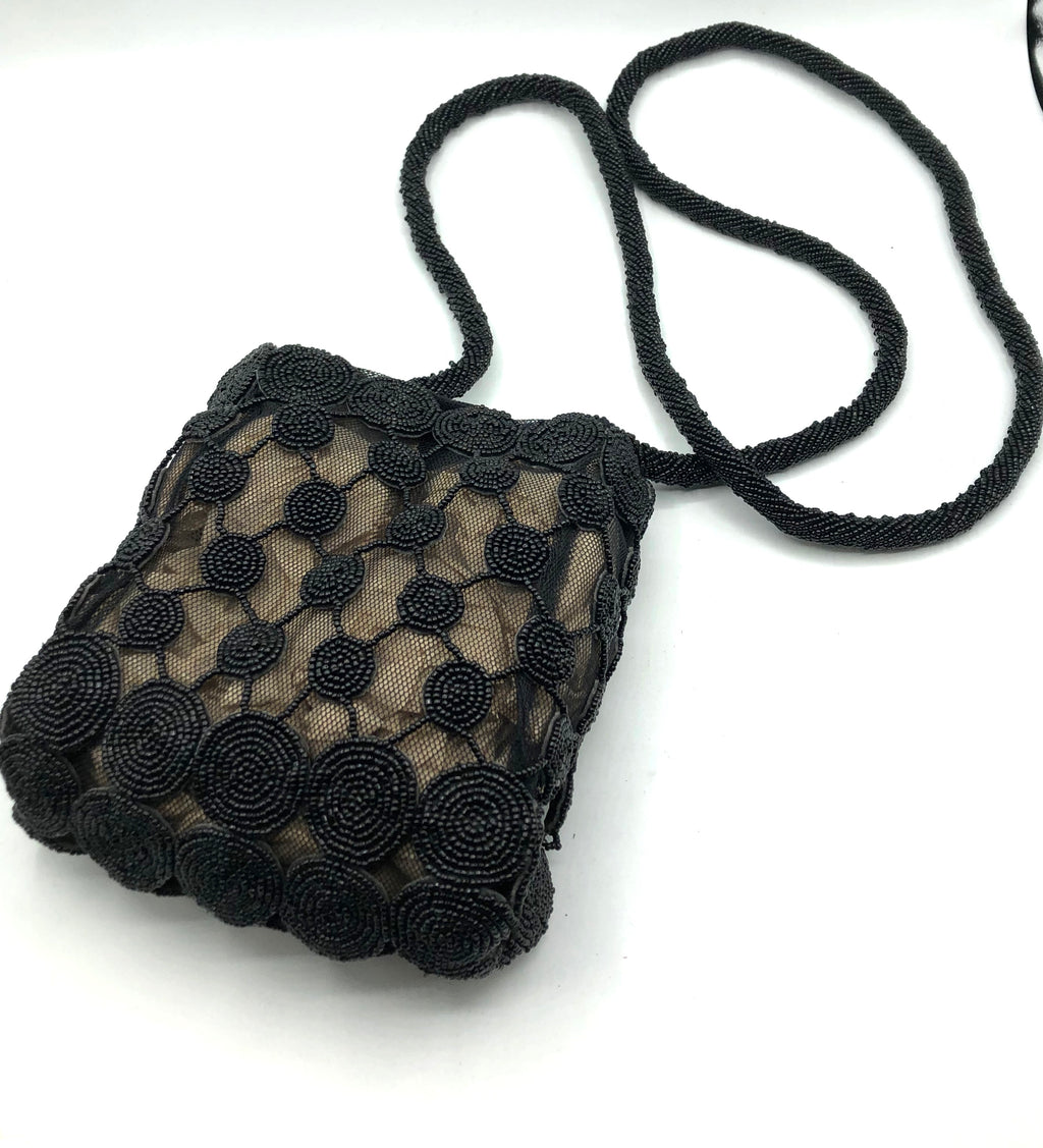 Krizia 90s  Black Beaded Cross Body Pouch 1 of 4