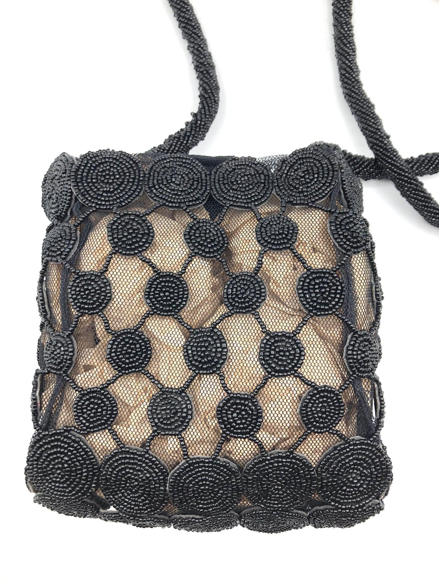 Krizia 90s  Black Beaded Cross Body Pouch 2 of 4