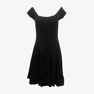 Nicole Miller 80s Black Crepe Mini Dress FRONT 1 of 3