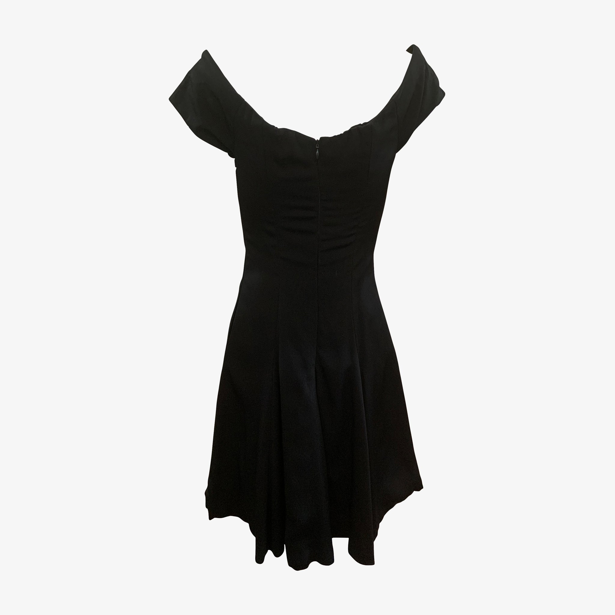 Nicole Miller 80s Black Crepe Mini Dress BACK 2 of 3