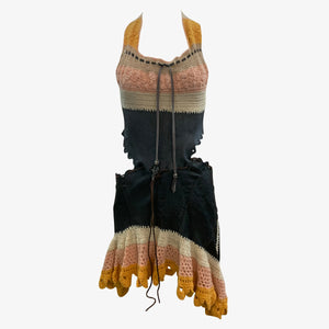 Genuine 1960s Hippie Handmade Halter Crochet and Leather Dress