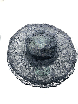 Phenomenal Don Marshall Wide Brim Black Lace Picture Hat 1 of 6