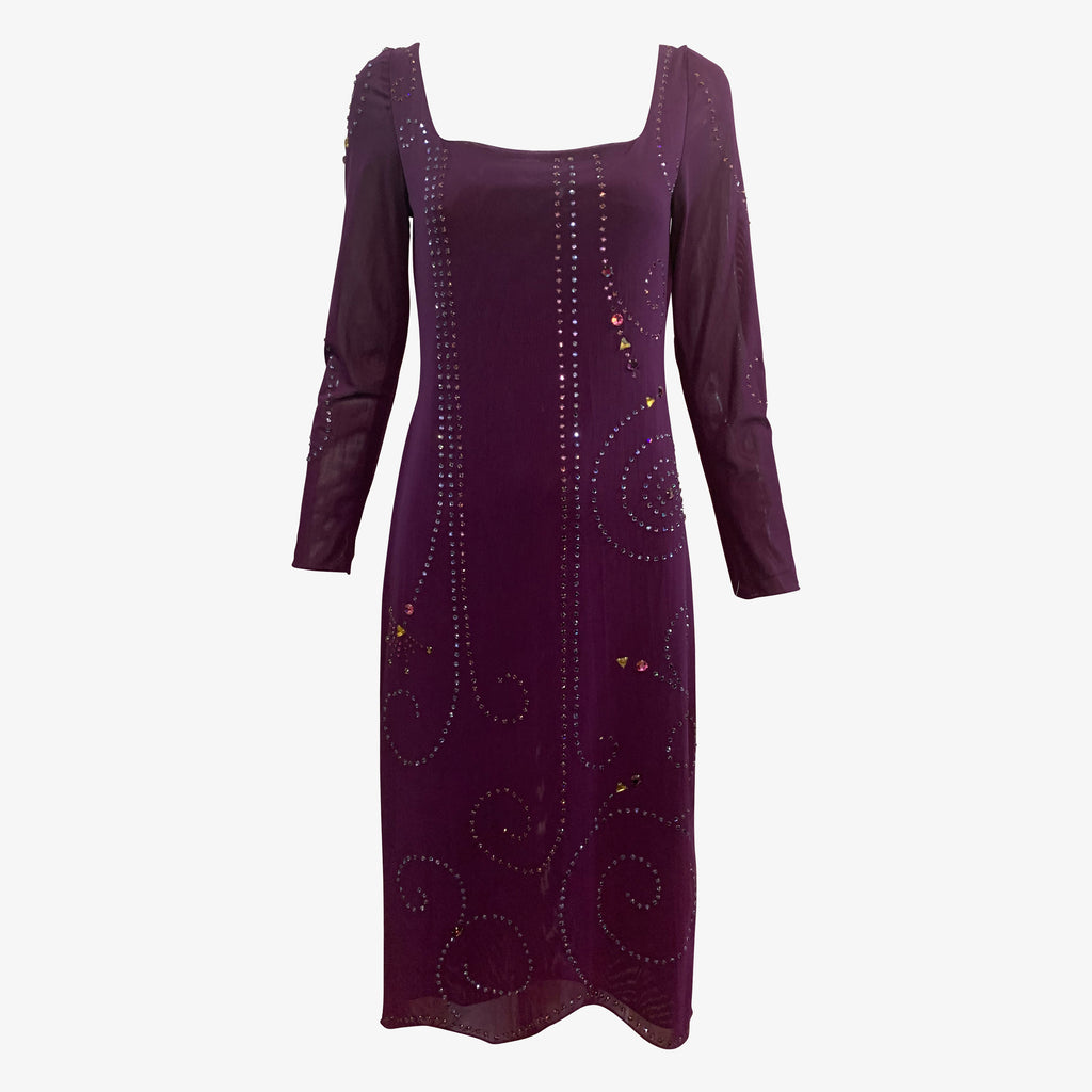 Sant Angelo 70s Dress Purple Studded with Rhinestones FRONT 1 of 4