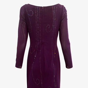 Sant Angelo 70s Dress Purple Studded with Rhinestones CLOSE UP BACK 3 of 4
