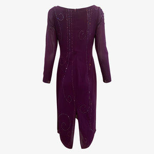 Sant Angelo 70s Dress Purple Studded with Rhinestones BACK 2 of 4