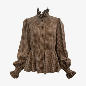 Jean Varon 70s Peasant Blouse Brown Polka Dots FRONT 1 of 5