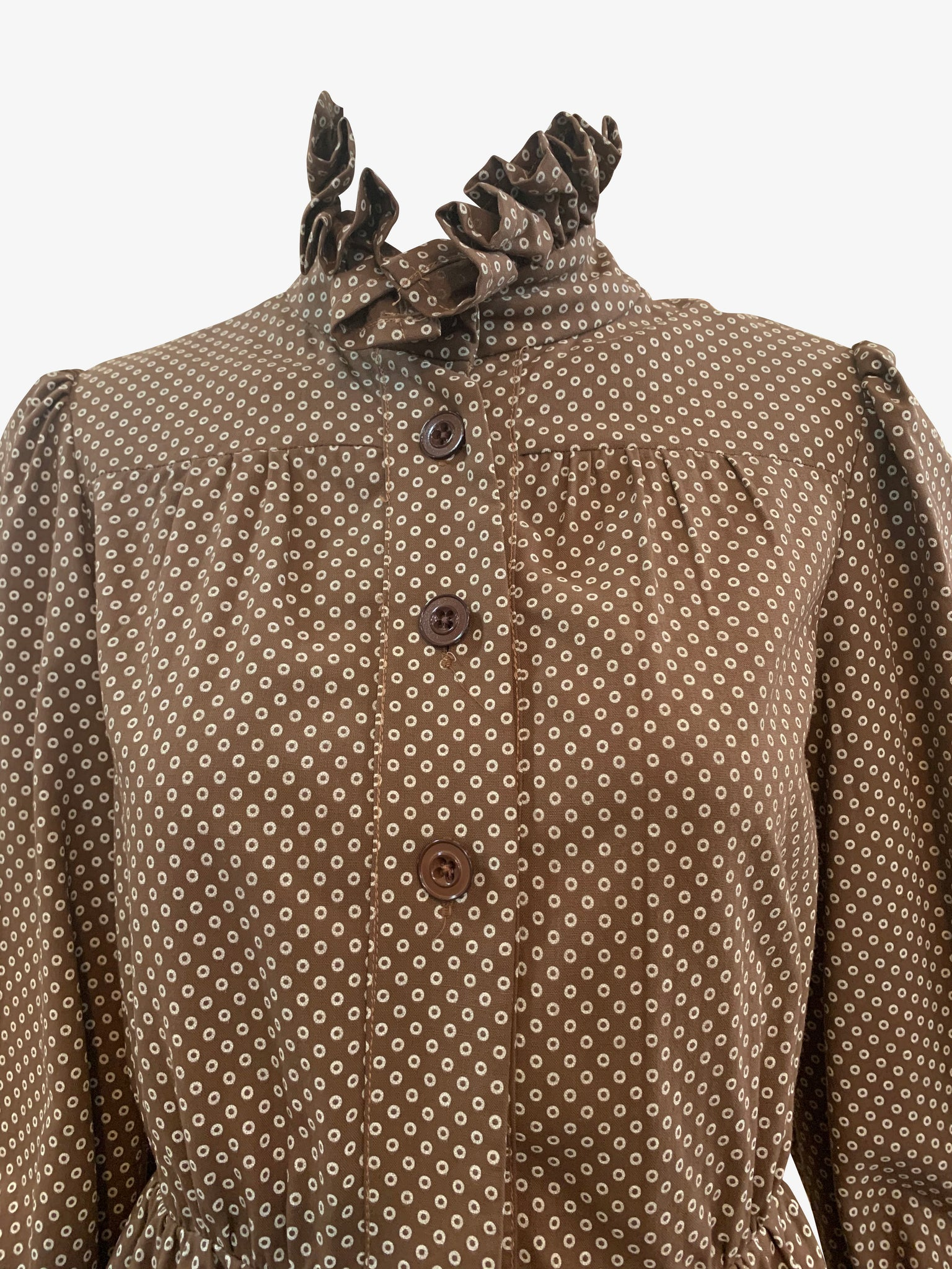 Jean Varon 70s Peasant Blouse Brown Polka Dots CLOSE UP FRONT 4 of 5