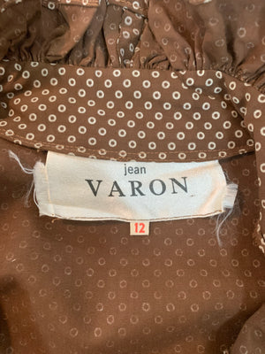 Jean Varon 70s Peasant Blouse Brown Polka Dots LABEL 5 of 5