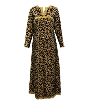 Outrageous 1960 Leopard Print Lame Gown Front 1 of 5