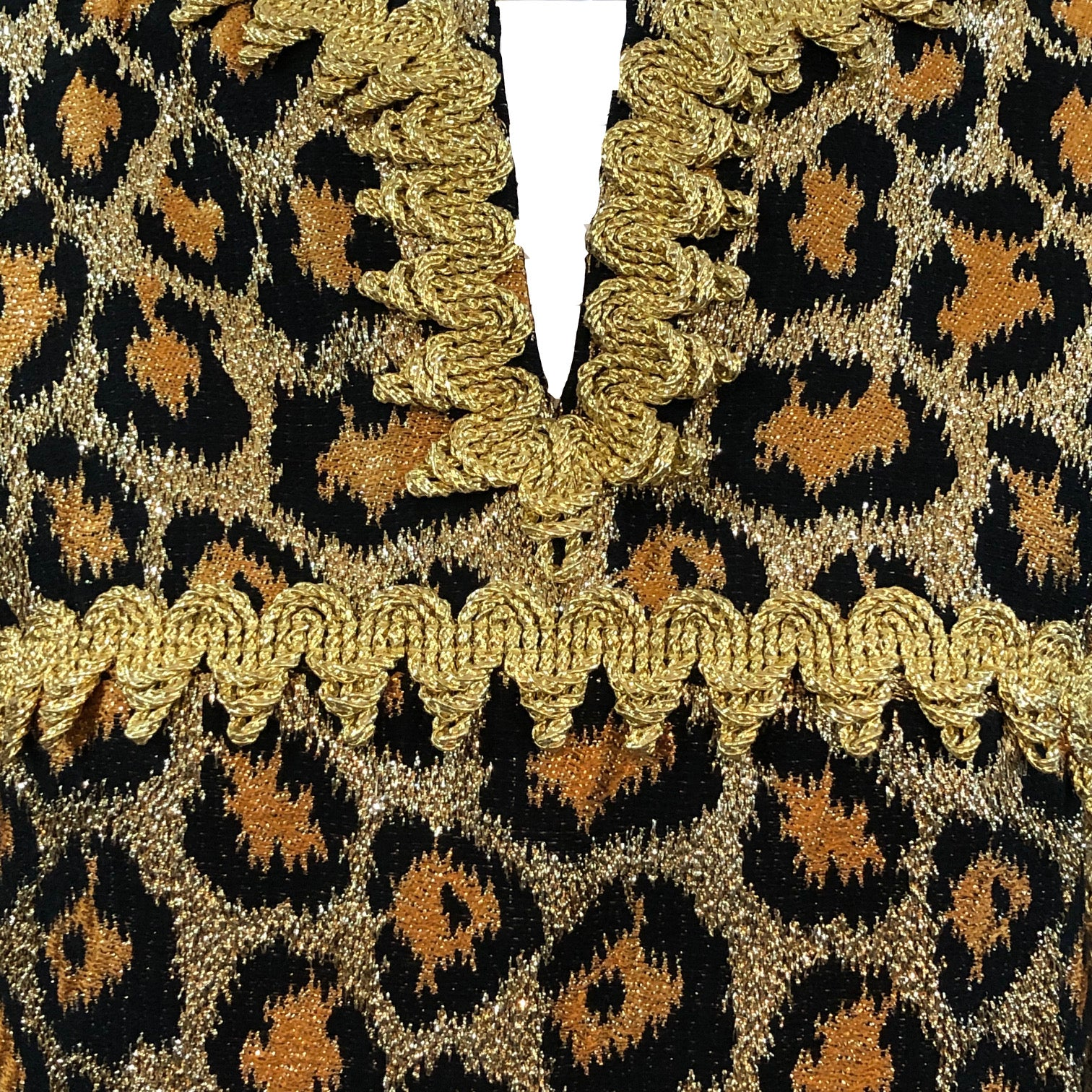 Outrageous 1960 Leopard Print Lame Gown Detail A 4 of 5