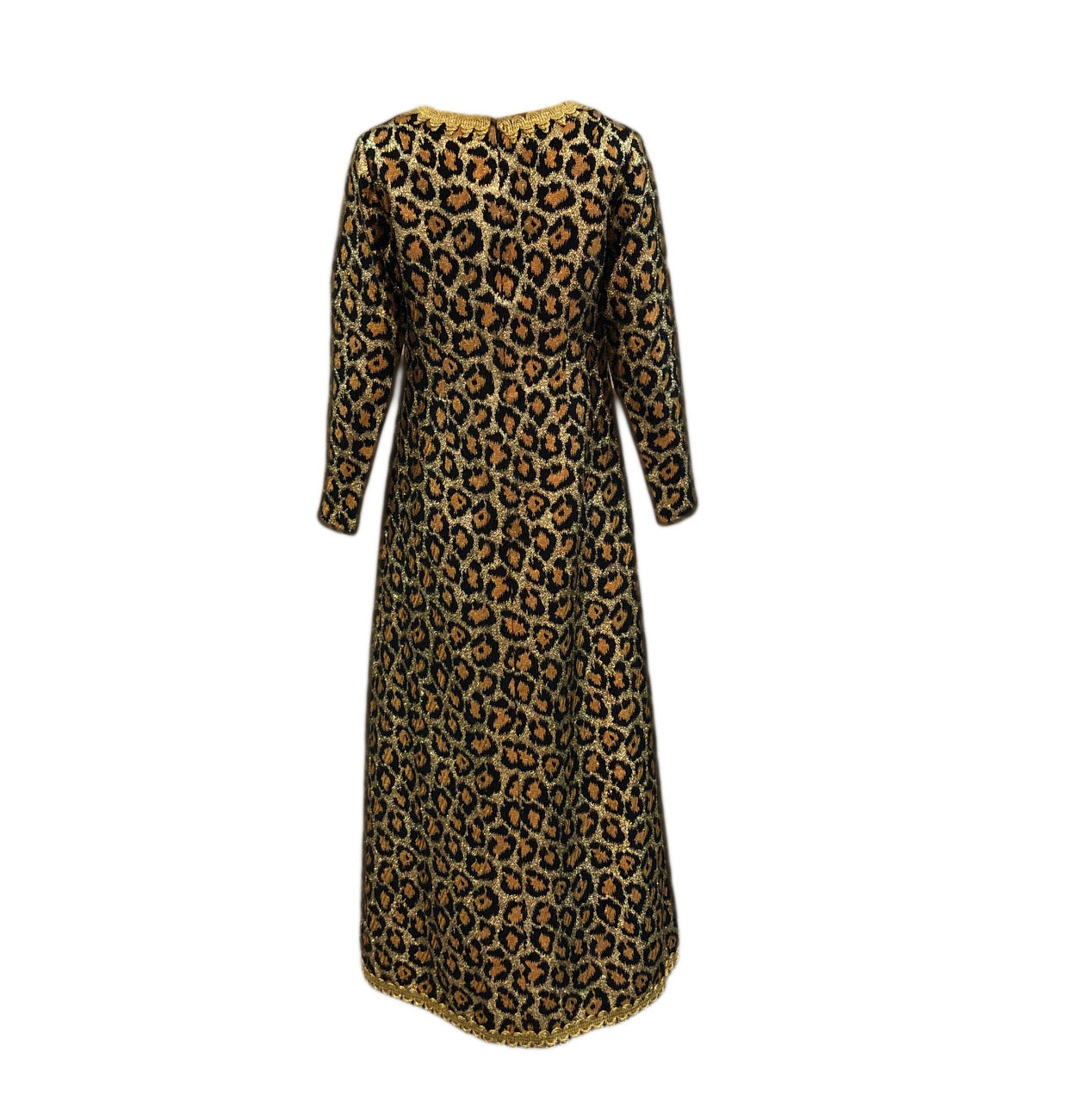 Outrageous 1960 Leopard Print Lame Gown Back 3 of 5