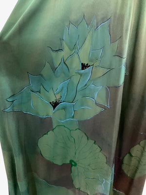 Holly's Harp 70s 3 Piece Green Jersey Hand Painted Ensemble   CLOSE UP PRINT 7 of 8
