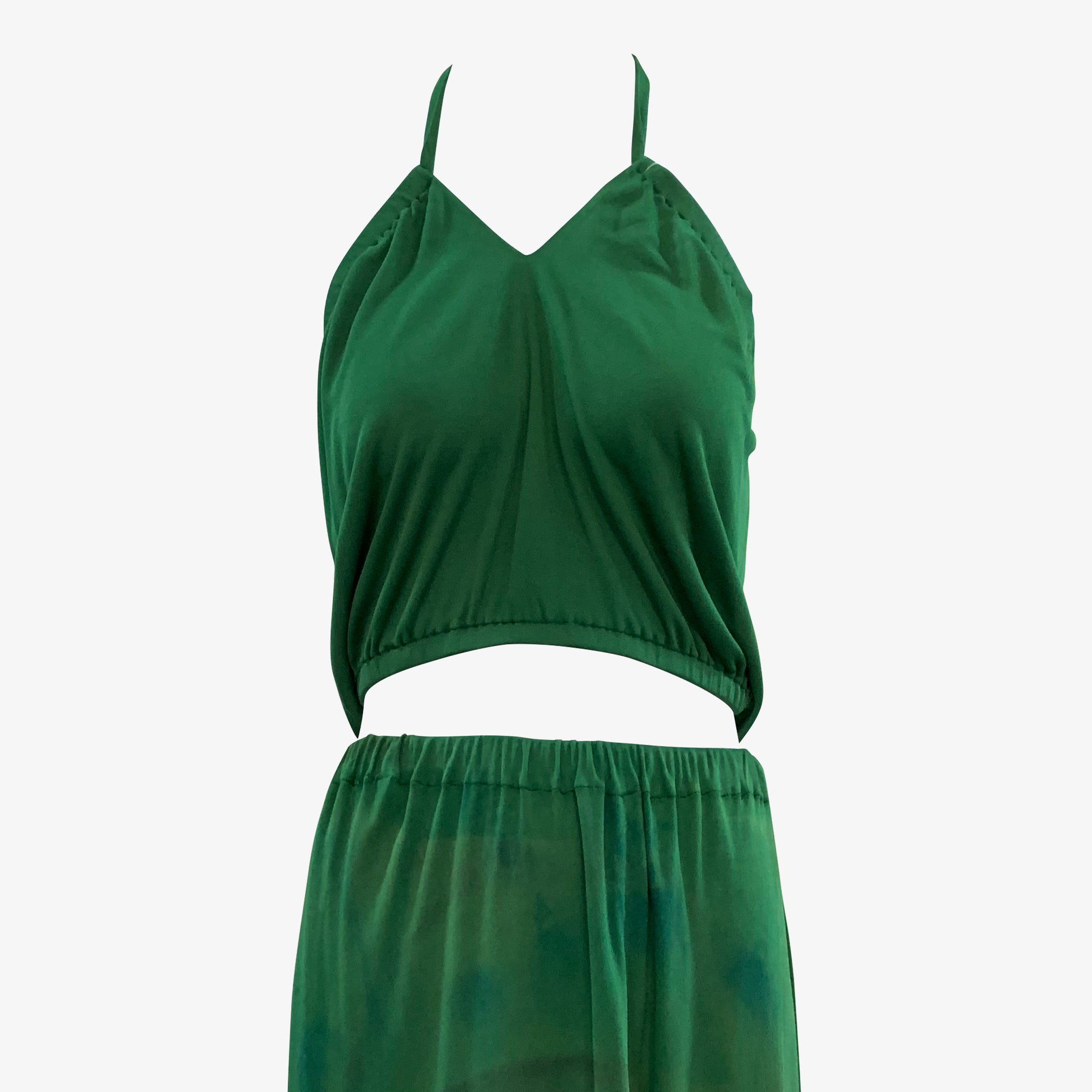 Holly's Harp 70s 3 Piece Green Jersey Hand Painted Ensemble
