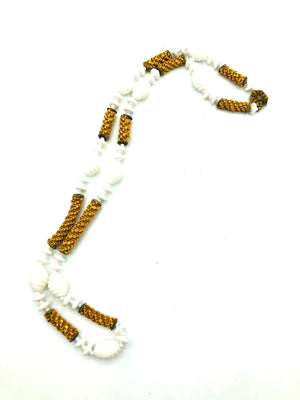 Miriam Haskell Unusual Milk Glass and Raffia Necklace and Bracelet 2 of 5