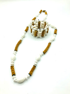 Miriam Haskell Unusual Milk Glass and Raffia Necklace and Bracelet 1 of 5