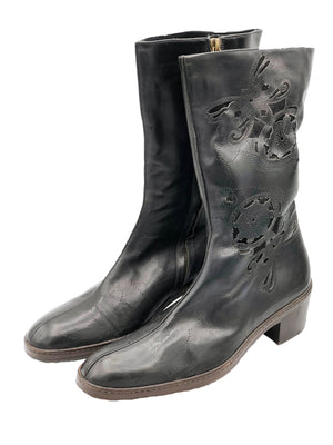 Dries van Noten 90s Boots Black Laser Cut Front 1 of 5