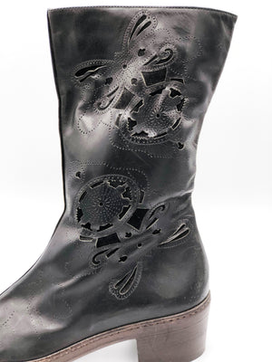 Dries van Noten 90s Boots Black Laser Cut Side A 2 of 5