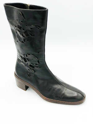 Dries van Noten 90s Boots Black Laser Cut Side B 3 of 5