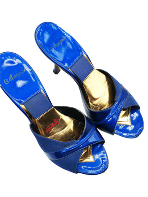50s Electric Blue Patent Springalator Shoes, top view