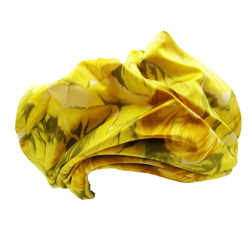 Mr. John Yellow Silk Watercolor Floral Turban Front 1 of 4
