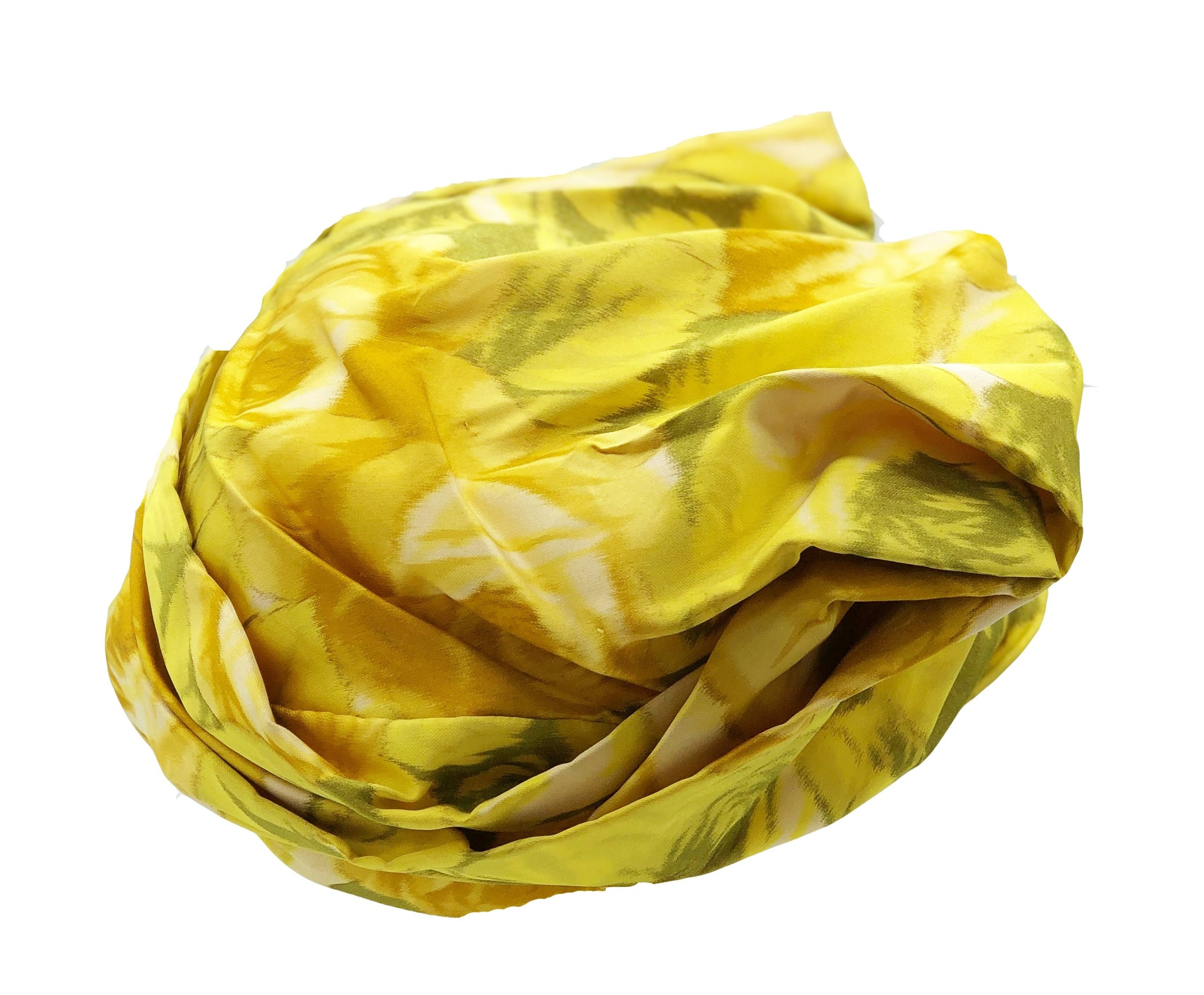 Mr. John Yellow Silk Watercolor Floral Turban Back 2 of 4