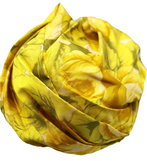 Mr. John Yellow Silk Watercolor Floral Turban Top 3 of 4