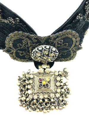 Contemporary Lanivich Black Brocade Choker 2 of 4