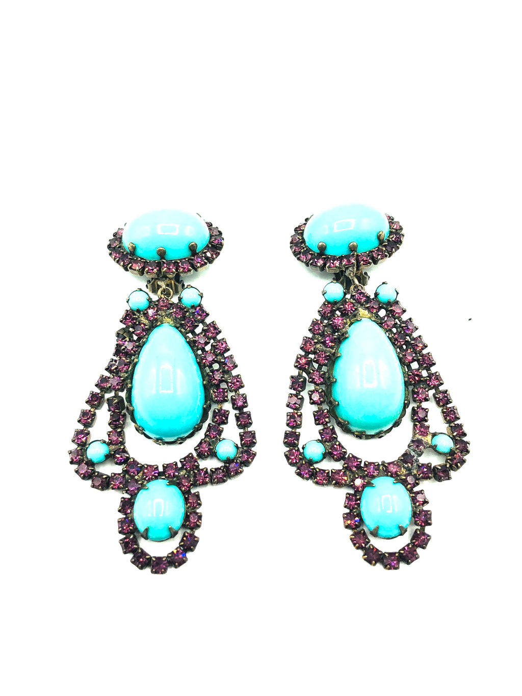 Kenneth Jay Lane 60s Turquoise and purple Chandelier Earrings 1 OF 4